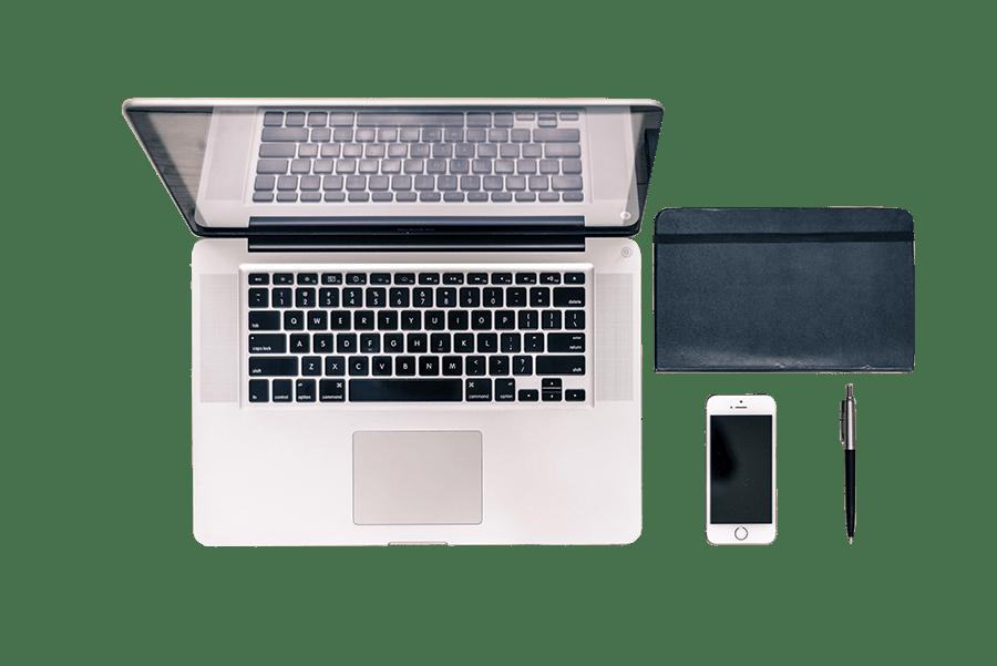 Macbook, iPhone, Notizbuch und Kugelschreiber |Online Agentur