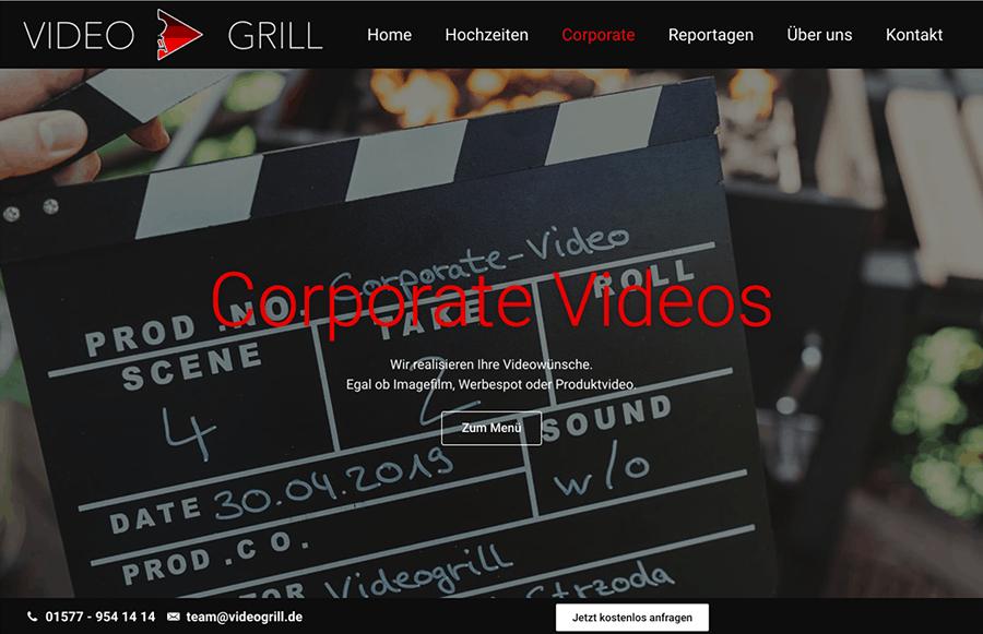 Bildschirmfoto Videogrill Corporate Videos - Beispielbild Website Erstellung