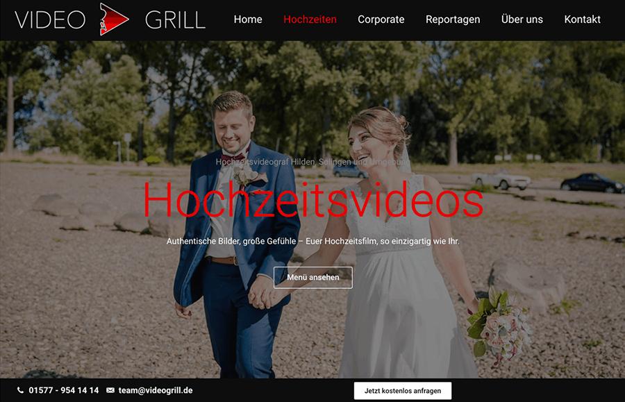 Bildschirmfoto von Videogrill Hochzeitsvideos- Beispielbild Website Erstellung