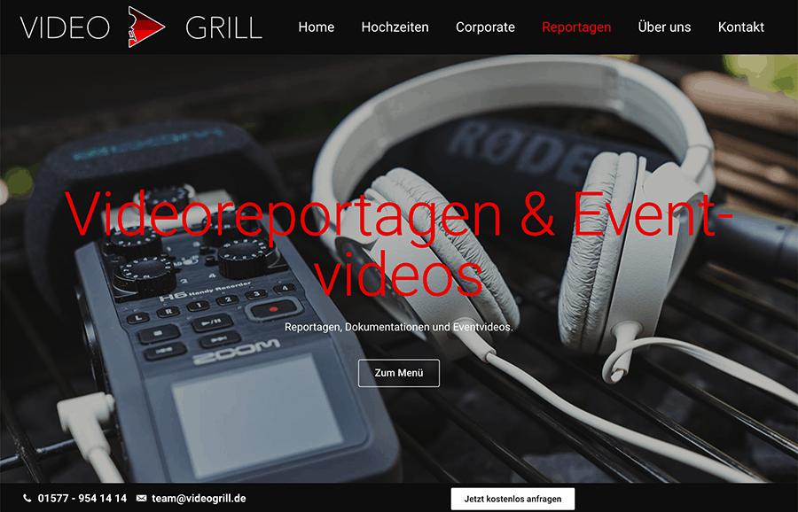 Bildschirmfoto Videogrill Videoreportagen - Beispielbild Websitegestaltung