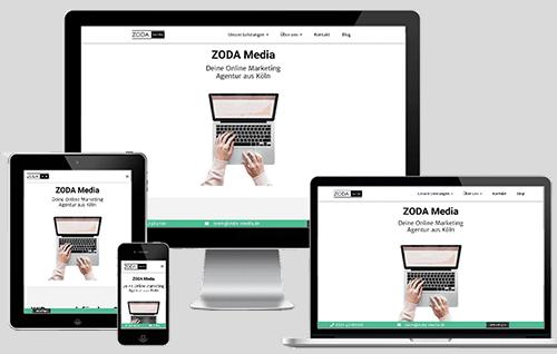 ZODA Media Website auf verschiedenen Bildschirmen