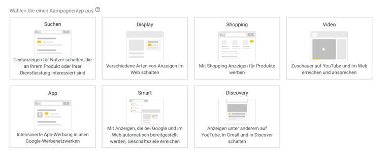 Google Ads Anzeigemöglichkeiten