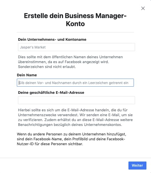 Business Manager Konto erstellen (1)