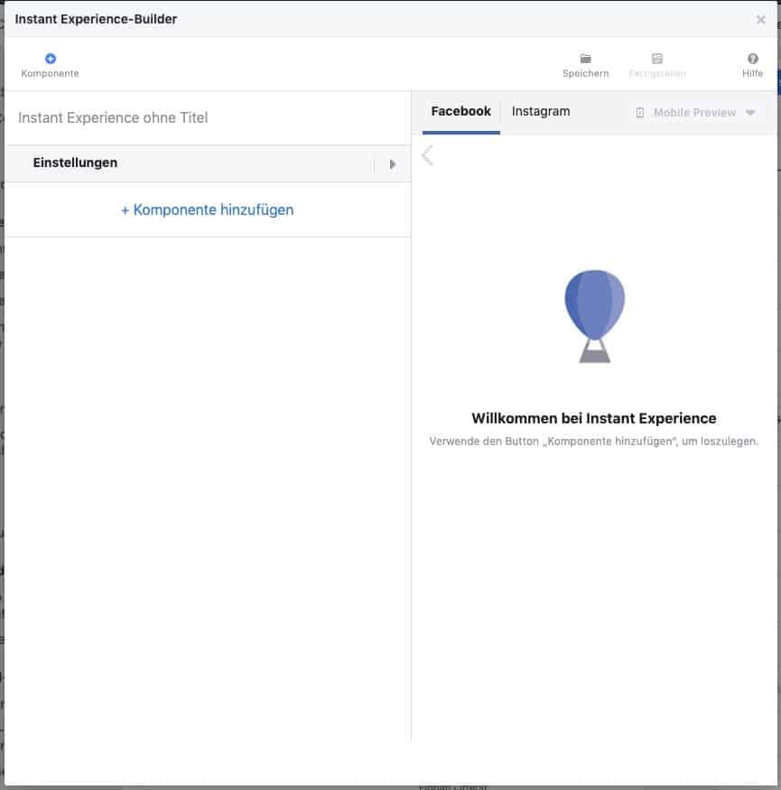 Facebook Instant Experience Builder