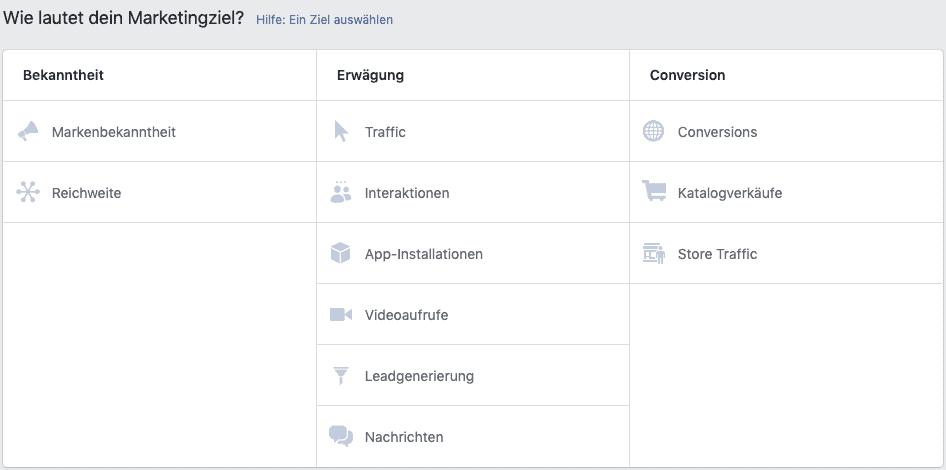 Facebook Marketingziel wählen