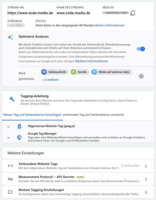 Google Analytics 4 Datenstream Einstellungen