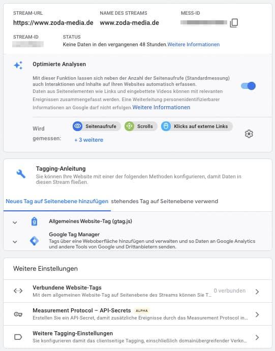 Google Analytics 4 Datenstream Einstellungen
