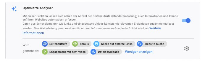 Google Analytics 4 Standardereignisse