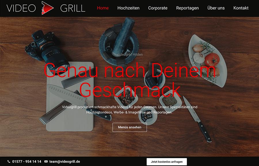 Bildschirmfoto von Videogrill Startseite - Beispielbild Website Erstellung