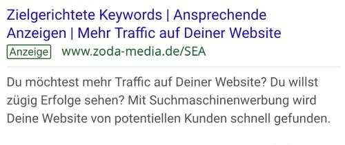 Beispiel Google Ads Anzeige